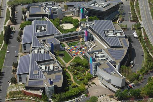 Fotografia aérea del campus de Google